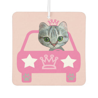 cute kitty driving her pink car design car air freshener
