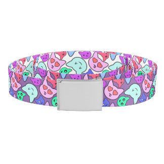 Cute Kitty Face Patterned Reversible Belt