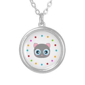 Cute kitty face, polka dot circle round pendant necklace