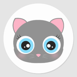 Cute kitty face round sticker