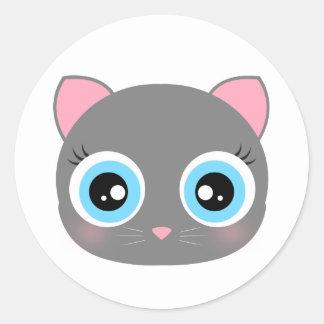 Cute kitty face round sticker
