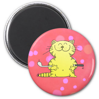 Cute Kitty Golfer Red Back Ground 6 Cm Round Magnet