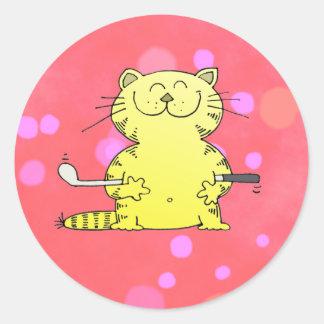 Cute Kitty Golfer Red Back Ground Round Sticker