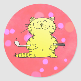 Cute Kitty Golfer Red Back Ground Sticker