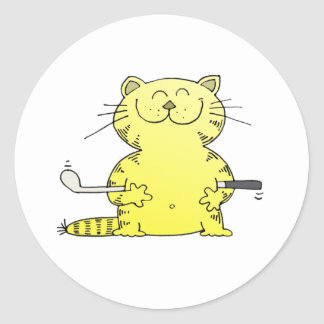 Cute Kitty Golfer Round Sticker