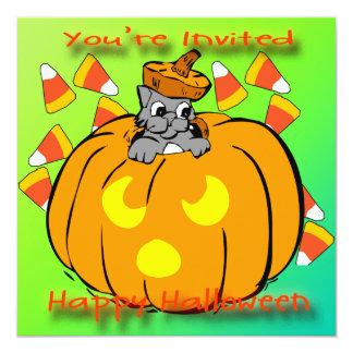 "Cute Kitty Halloween Pumpkin Invitation 5.25"" Square Invitation Card"