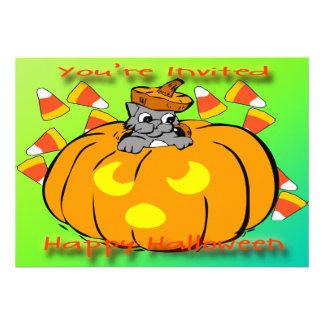 Cute Kitty Halloween Pumpkin Invitation
