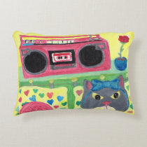 Cute Kitty in Bedroom Folk Art Decorative Cushion