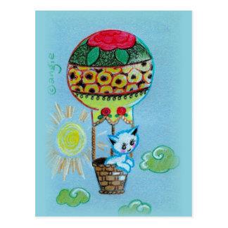 Cute Kitty in Hot Air Baloon Post Card