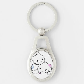 Cute Kitty Keychain Silver-Colored Oval Key Ring