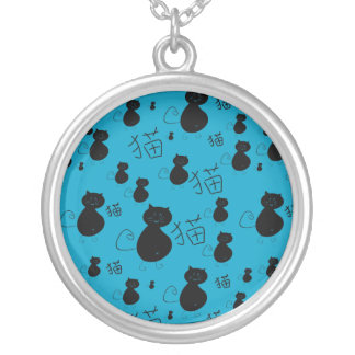 Cute kitty pattern silver plated necklace