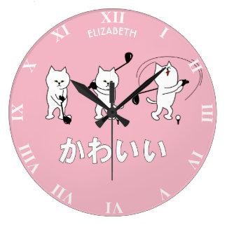 Cute Kitty Playing Golf Kawaii Word In Japanese Clock