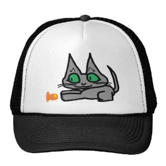 Cute Kitty Playing With A Toy Fish Mesh Hat