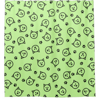 Cute Kitty Print Shower Curtain