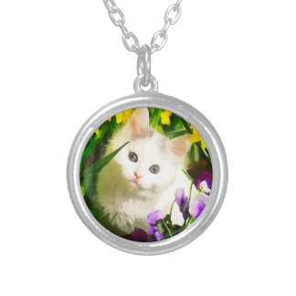 Cute Kitty Round Pendant Necklace