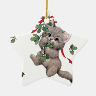 Cute Kitty Star Ceraminc Ornament
