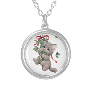 Cute Kitty Sterling Silver Plated Round Necklace