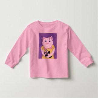 Cute Kitty with Panda Girls Longsleeve Tshirt