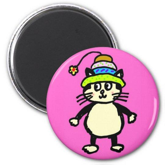 "Cute ""Knit-Rit"" cat magnet - pink"