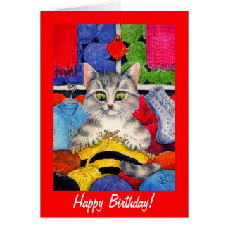 Cute knitting cat birthday or any occasion card
