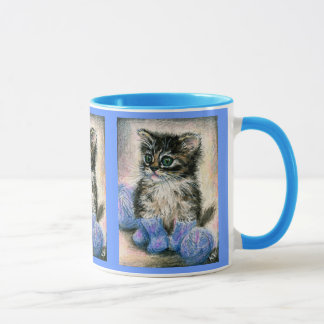 Cute knitting kitten mug