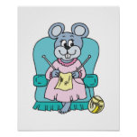 cute knitting mouse print
