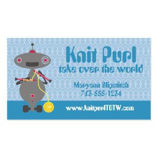 Cute knitting needles yarn robot alien business cards
