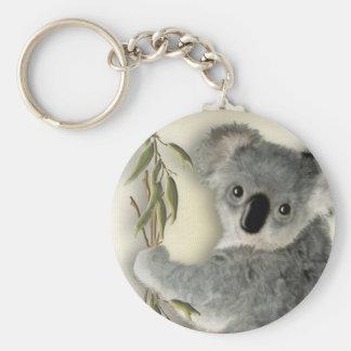 Cute Koala Basic Round Button Key Ring