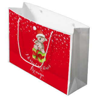 Cute koala bear art named christmas red gift bag