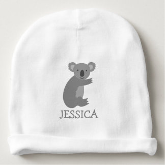 Cute koala bear baby beanie hat with custom name