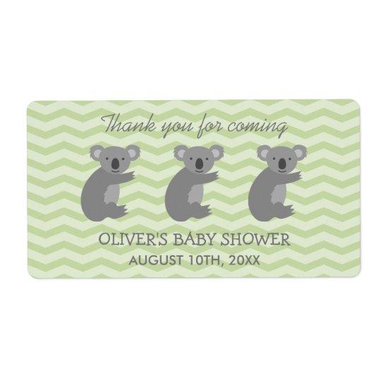 Cute koala bear baby shower water bottle stickers shipping label