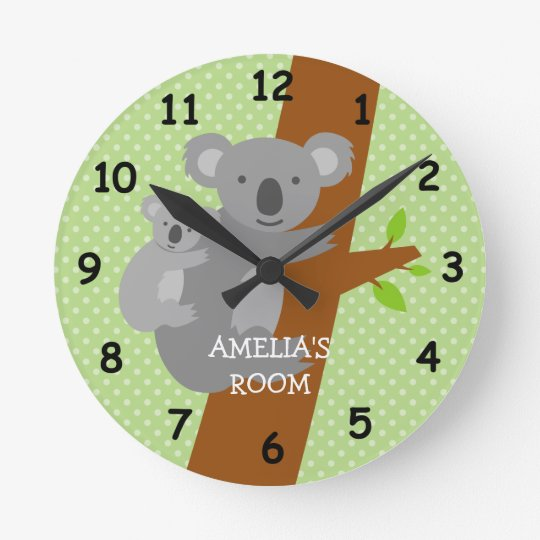 Cute koala bear polka dots nursery wall clock