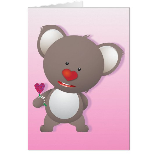 Cute Koala Bear Valentine Greeting Card