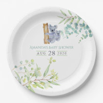 Cute Koala Bears Eucalyptus Leaves Baby Shower Paper Plate