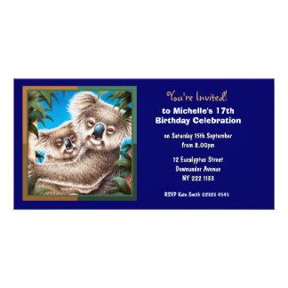 Cute Koala Birthday Invitation Photo Card