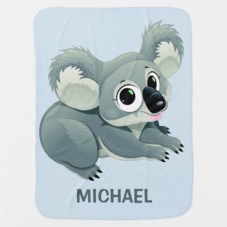Cute Koala custom name baby blanket