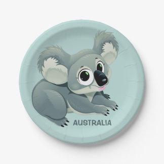 Cute Koala custom text paper plates 7 Inch Paper Plate
