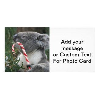 Cute Koala Eating Candy Cane Personalized Photo Card