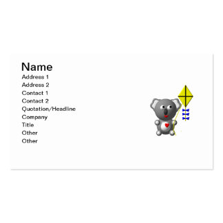 Cute Koala flying a kite Pack Of Standard Business Cards