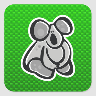 Cute Koala; Green Square Sticker