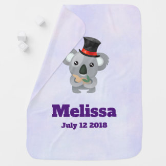 Cute Koala in a Black Top Hat Birthdate Baby Blanket