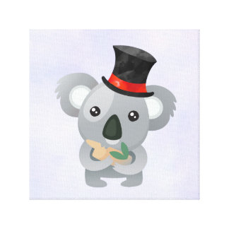 Cute Koala in a Black Top Hat Canvas Print