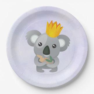 Cute Koala in a Golden Crown Paper Plate