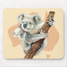 Mom and Baby Koala Computer Mouse Pad Nature Wildlife mousepad