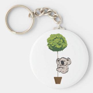 Cute Koala on the Tree Basic Round Button Key Ring