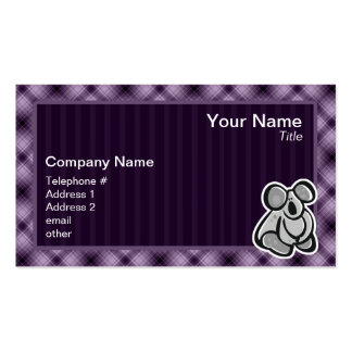 Cute Koala; Purple Business Card Template