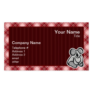Cute Koala; Red Plaid Double-Sided Standard Business Cards (Pack Of 100)
