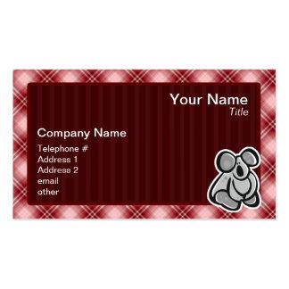 Cute Koala; Red Plaid Business Card Templates
