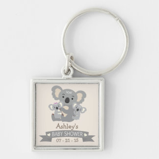 Cute Koala Twins Baby Shower Silver-Colored Square Keychain