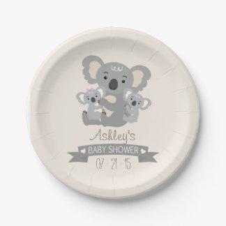 Cute Koala Twins Baby Shower Paper Plate